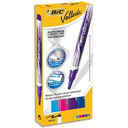 Marqueur effaçable à sec Bic Velleda Liquid Ink - pointe ogive 4,5mm - coloris assortis fun - pochette de 4