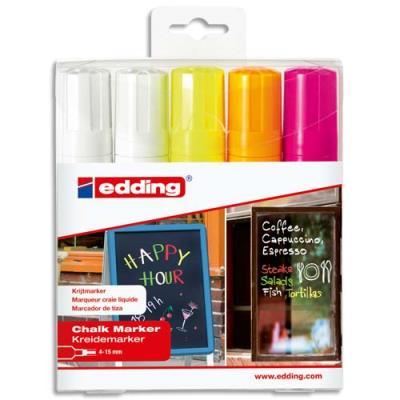 Marqueur craie Edding E 4090 - pointe biseautée 4-15mm - coloris assortis - pochette de 5