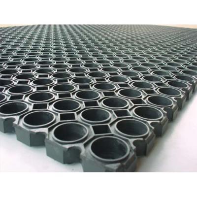 Tapis d'accueil exterieur caillebotis Floortex en caoutchoux - 100 x 150 cm - noir