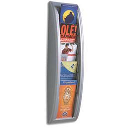 Présentoir mural alu Quick Fit System - 5 cases - pour format 1/3 de A4