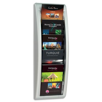 Présentoir mural alu Quick Fit System - 5 cases - pour format A5