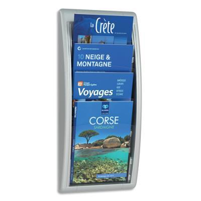 Présentoir mural alu Quick Fit System 4 cases A4 Fast Paperflow