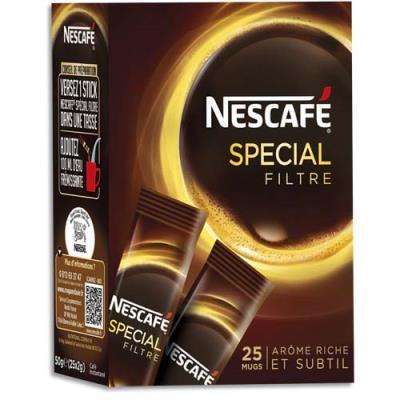 Café instantané Nescafé spécial filtre - boîte de 25 stics de 2 g (photo)