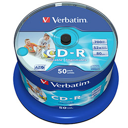 Verbatim DataLifePlus - 50 x CD-R - 700 Mo 52x - surface imprimable large - spindle (photo)