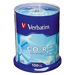 CD-R Verbatim - 700 mo - 52x - tour de 100 (photo)