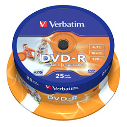 DVD-R Verbatim - imprimable - 16x - tour de 25 (photo)