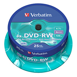 DVD-RW Verbatim - 4x - tour de 25 (photo)
