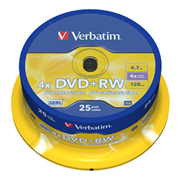 DVD+RW Verbatim - 4x - tour de 25 (photo)
