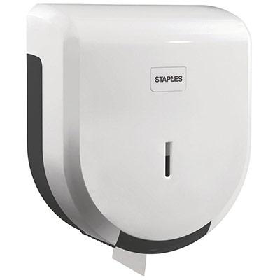 Distributeur de rouleaux de papier toilette géants - plastique ABS - verrou - blanc - 275 x 245 x 120 mm (photo)