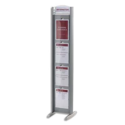 Présentoir totem Paperflow - 8 fenêtres A4 - coloris aluminium