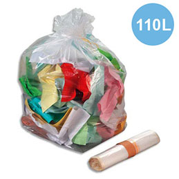 Sacs poubelles transparent - 110 L - 30 microns lot de 200 sacs (photo)