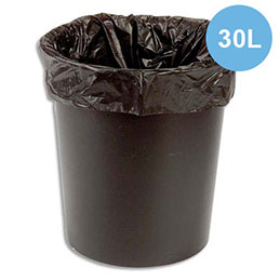 Sacs poubelles - 30 L - noir - 12 microns - lot de 500 sacs (photo)
