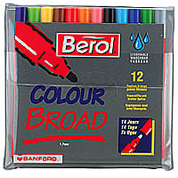 Pochette de 12 feutres de coloriage économique Bérol JPC - pointe moyenne - couleurs assorties (photo)