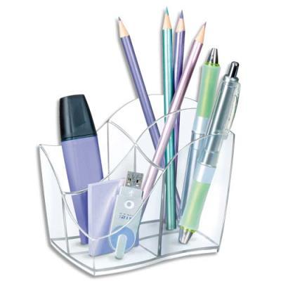 Pot à crayons multipot 4 compartiments Cep Isis - coloris Cristal