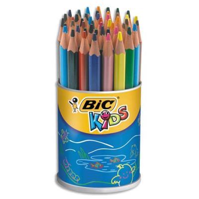Pot de 48 crayons de couleurs Evolution Triangle Bic - sans bois - coloris assortis