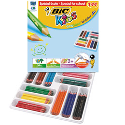 Pack de 144 crayons de couleurs Evolution triangle Bic - couleur assorties (photo)