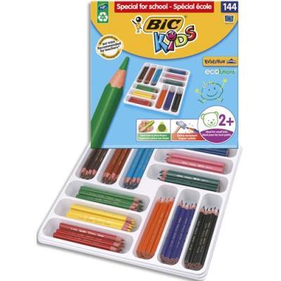 Pack de 144 crayons de couleurs Evolution triangle Bic - couleur assorties