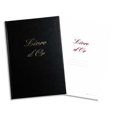 Livre d'Or - format  21x29,7cm - 148 pages - couverture aspect cuir coloris noir - frappe or en creux à chaud (photo)