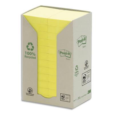Post-it recyclés - 38 x 51 mm - 100 feuilles - tour 24 blocs - coloris jaune