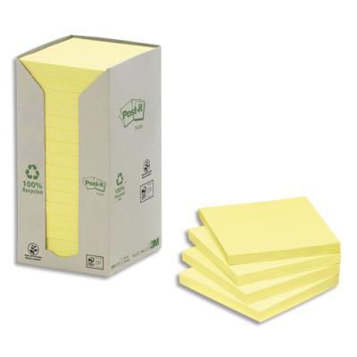 Post-it recyclés - 76 x 76 mm - 100 feuilles - tour 16 blocs - jaune