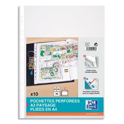 Pochettes perforées pour format A3 pliée - Sachet de 10