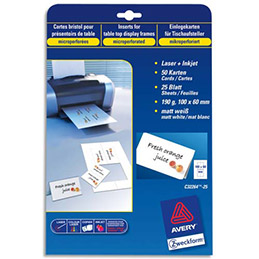 Cartes de visite Avery C32026 - impression laser - finition mate - 8,5 x 5,4 cm - 270 g - pochette de 250 cartes (photo)