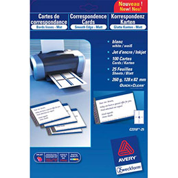 Cartes de correspondances Avery C2318 - impression jet d'encre finition mate - 12,8 x 8,2 cm - 260g - pochette de 100 (photo)