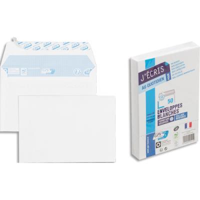 Enveloppes 114x162 GPV - blanches - auto-adhésives - 75 g - paquet de 50