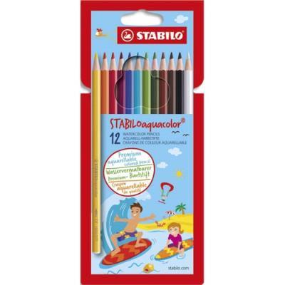 Pochette de 12 crayons de couleur Aquacolor Stabilo - mine aquarellable - coloris assortis