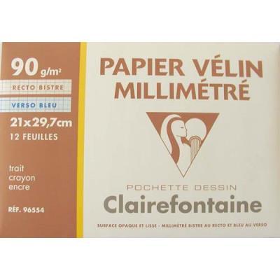 Feuilles de papier millimétré Clairefontaine - 90g - pochette de 12 - Réf 108397 (photo)