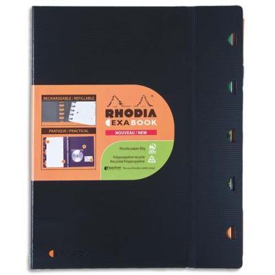 Cahier Exabook Rhodia rechargeable - reliure spirale - A4+ - feuilles perforées 4 trous - fermeture par élastique - 160 pages - petits carreaux