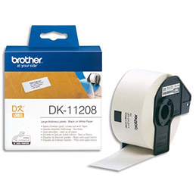 Brother DK-11208 - rouleau de 400 étiquettes - 38 x 90 mm - pour QL 1050, 1060, 500, 550, 560, 570, 580, 650, 700, 710, 720 (photo)