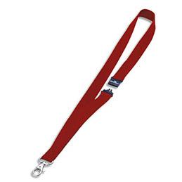 Boîte de 10 lacets textile pour badge - avec mousqueton - rouge - 44 cm (photo)