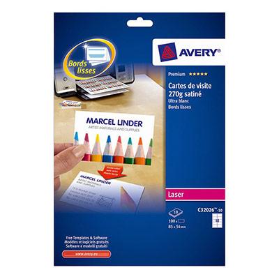 Cartes de visite blanches à bords lisses Avery - 85 x 54 mm - Impression laser - paquet 100 unités (photo)