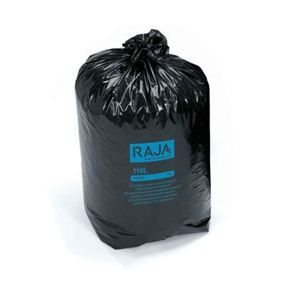 Sac poubelle Raja pour déchets courants - en plastique recyclé - 110 litres - 45 microns - diamètre 44,6 x H.110 cm - carton de 200 - noir