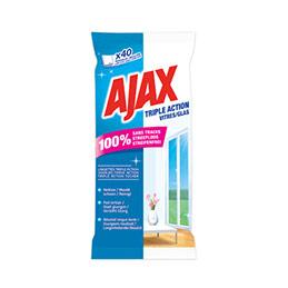 Lingettes nettoyantes pour vitres Ajax Triple action - paquet de 40 (photo)