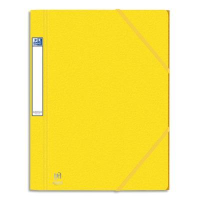 Chemises 3 rabats à élastiques Eurofolio Prestige - Carte grainée 7/10ème - Format 24x32 cm - jaune