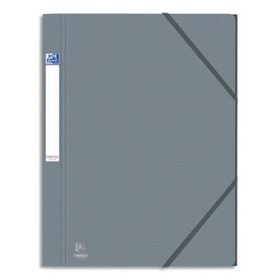 Chemise 3 rabats et élastique Eurofolio Prestige - en carte grainée 7/10e - format 24 x 32 cm - gris