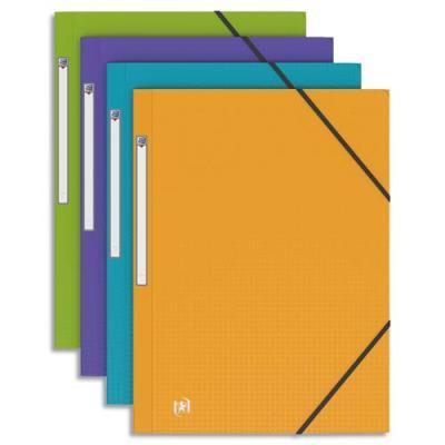 Chemise 3 rabats à élastiques - polypropylène opaque 5/10ème - format 24x32cm - Coloris Pastel assortis : bleu lavande, violet, vert anis et jaune (photo)