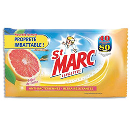 Lingettes nettoyantes et anti-bacteriennes St-Marc - parfum soleil de corse - paquet de 40 (photo)
