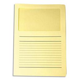 Boîte de 100 pochettes coins Fast Ordo Elco - avec fenêtre - jaune clair treuillet (photo)