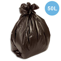 Sacs poubelles fins - 50 L - noir - 15 microns - lot de 500 sacs (photo)