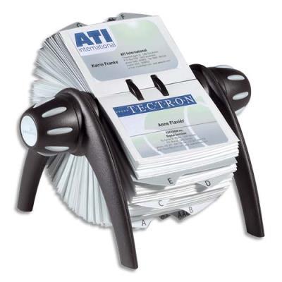 Fichier rotatif Visifix Flip - équipé de 200 pochettes pour 400 cartes de visite - noir et gris (photo)