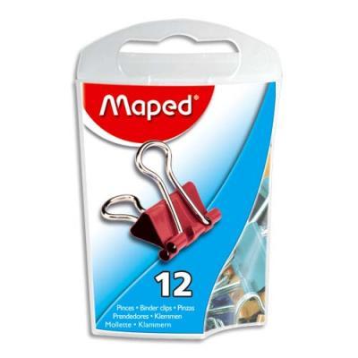 Pinces clip - largeur 15mm - coloris assortis - Boite de 12