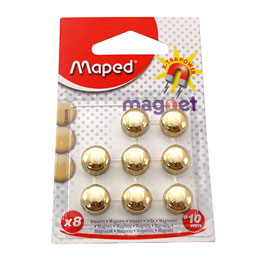 Aimants Maped - diamètre 10mm - format rond - coloris or - Blister de 8 (photo)