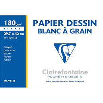Pochette de 10 feuilles papier dessin blanc Clairefontaine - A3 - 180g - Réf : 96185 (photo)