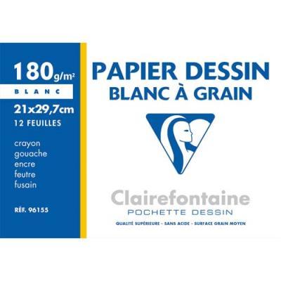 Pochette de 12 feuilles papier dessin blanc Clairefontaine - A4 - 180g - Réf : 96155