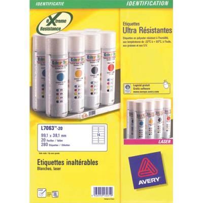Boîte de 280 étiquettes Avery L7063 - Laser - inaltérables - Format 9.91 x 3.81 cm (photo)