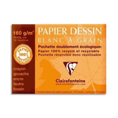 Pochette de 12 feuilles papier dessin blanc Clairefontaine - 24x32 - 180g - Réf : 96175