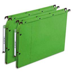 Dossiers suspendus AZV en carte Canson vert - pour armoire - fond 30 mm - paquet de 25 (photo)